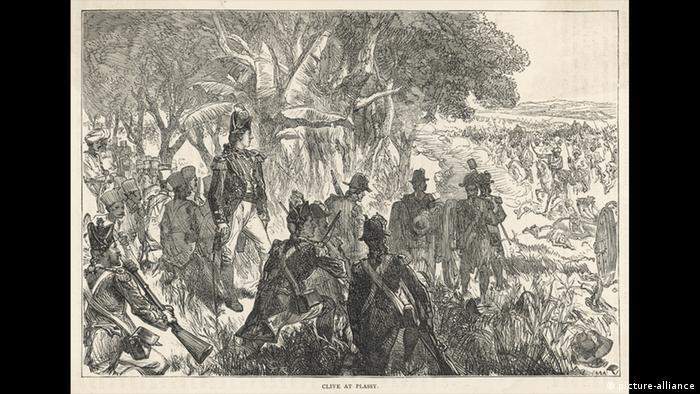 Британски части под командването на Робърт Клайв празнуват победата в битката при Пласи