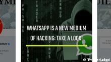 Screenshot Twitter: whatsapp is the new medium of hacking, Indian Army (Twitter/adgpi)