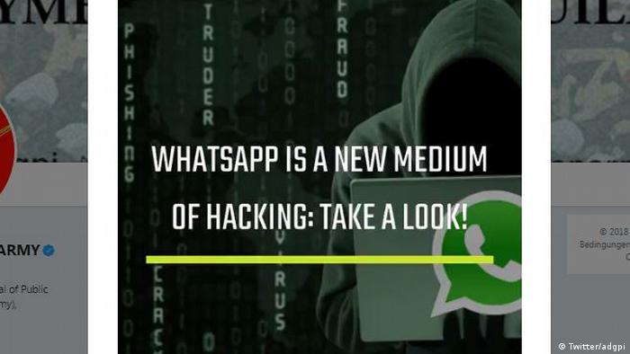 Screenshot from a video posted by the Indian Army on Twitter that reads: WhatsApp is the new medium of hacking