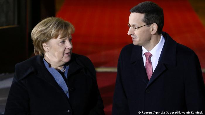 Cancelarul federal Angela Merkel şi premierul polonez Mateusz Morawiecki la Varşovia