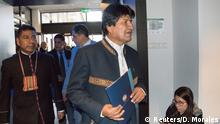 19.03.2018 Bolivian President EvoMoralesleaves the courtroom after the opening of hearings at the World Court in The Hague, the Netherlands March 19, 2018. REUTERS/David Morales NO RESALES. NO ARCHIVES