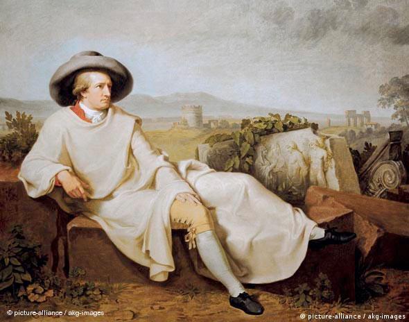 'Goethe in der Campagna' - das Gemälde von J.H.W.Tischbein zeigt Goethe mit gelbweißem Mantel und Schlapphut, halb sitzend, halb liegend auf antiken Steinen: er blickt sinnend in die Ferne. Frankfurt a.M., Städelsches Kunstinstitut (Foto: picture-alliance / akg-images)
