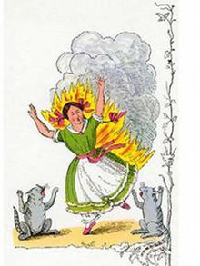 Огонь - проворный молодец: горит вся Катя, наконец...