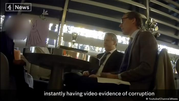 Cambridge Analytica executives seen in the Channel 4 video, talking to the undercover journalists