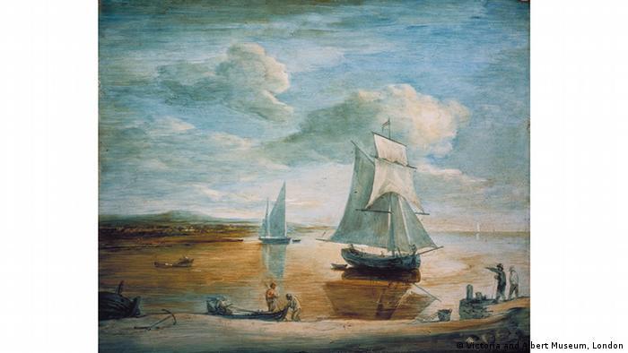 Картина Прибрежный пейзаж с кораблями