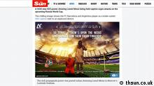 Screenshot der Website The sun Artikel: Lionel Messi 'held prisoner' by ISIS in sick new poster urging attacks at Russia World Cup 2018