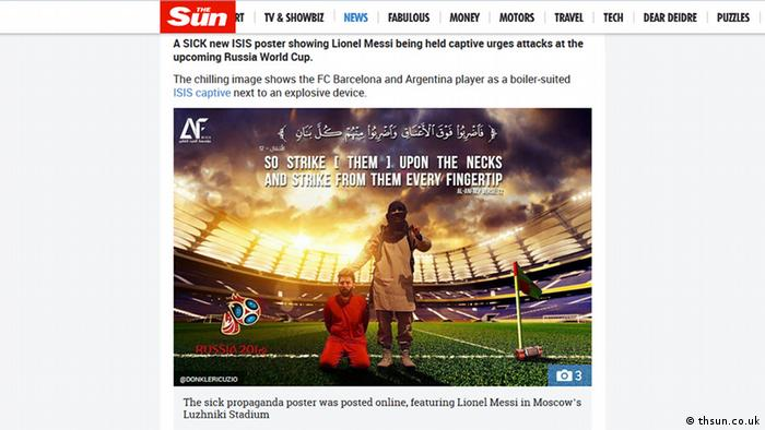 Screenshot der Website The sun Artikel: Lionel Messi 'held prisoner' by ISIS in sick new poster urging attacks at Russia World Cup 2018 (thsun.co.uk)