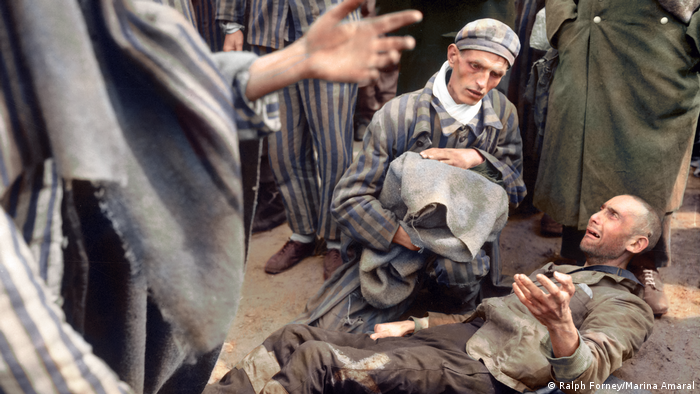 Marina Amaral's colorization of a photo from the liberation of the Laagberg camp