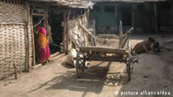 A woman is seen in front of a village hut along with a cart and cattle