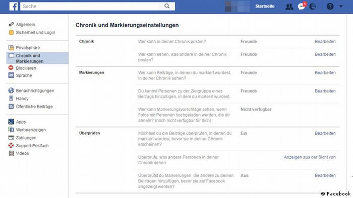 Screenshot - Facebook Einstellungen (Facebook)