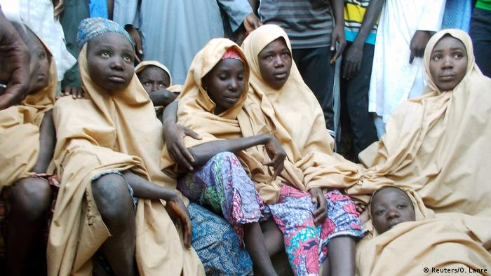 Several school girls after their being freed from their Boko Haram captors in March.