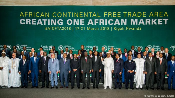 African heads of state and governments pose during an African Union summit for the agreement to establish the African Continental Free Trade Area in Kigali, Rwanda
