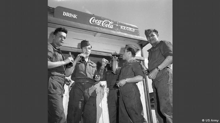 Photo of soldiers drinking coke in Little America in the Allied Museum. (US Army)