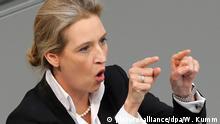 21.03.2018, Berlin: Alice Weidel (AfD), Fraktionsvorsitzende, spricht im Deutschen Bundestag nach der Regierungserklärung der Bundeskanzlerin. Foto: Wolfgang Kumm/dpa +++(c) dpa - Bildfunk+++ | Verwendung weltweit