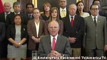 21.03.2018+++ Peru's President Pedro Pablo Kuczynski is seen announcing his resignation at the Presidential Palace in Lima, Peru March 21, 2018 in this still image from video. PERU GOVERNMENT TV/AMERICA TV/Handout via REUTERS ATTENTION EDITORS - THIS IMAGE HAS BEEN SUPPLIED BY A THIRD PARTY. PERU OUT. NO COMMERCIAL OR EDITORIAL SALES IN PERU. NO RESALES. NO ARCHIVES