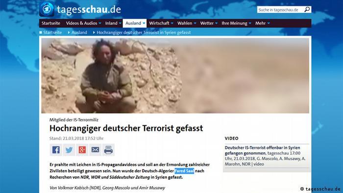 Screenshot Tagesschau 22.3.2018 reading high-ranking German terrorist apprehended