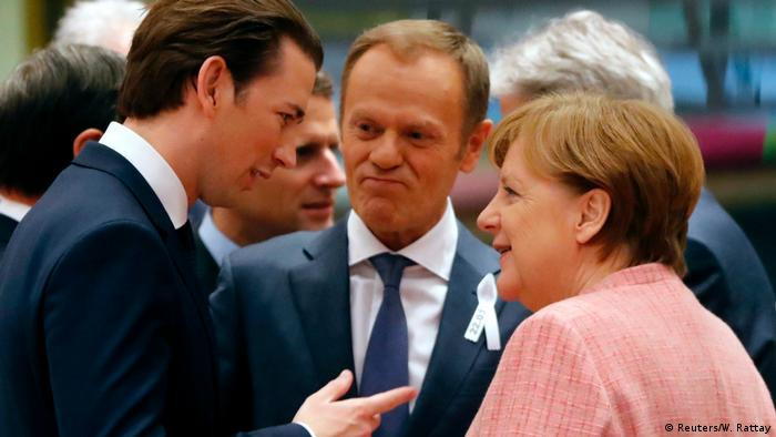 Себастьян Курц, Дональд Туск и Ангела Меркель на саммите ЕС в Брюсселе