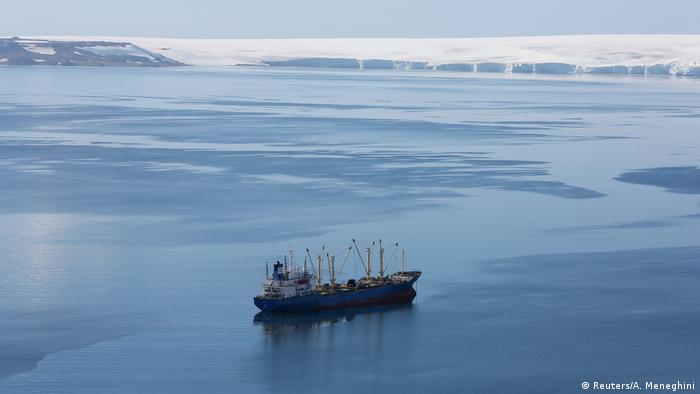 A krill fishing vessel is spotted in Antarctica's Crescent Bay (Reuters/A. Meneghini)