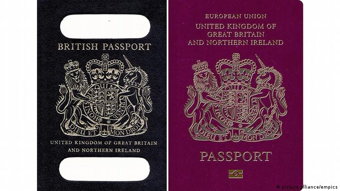 Brexit - Blue and burgundy UK passports