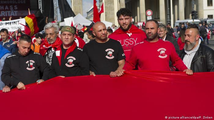 Osmanen Germania members demonstrating at Brandenburg Gate