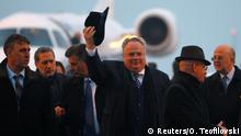 22.03.2018 +++ Greek Foreign Minister Nikos Kotzias lands at Skopje Airport, Macedonia March 22, 2018. REUTERS/Ognen Teofilovski