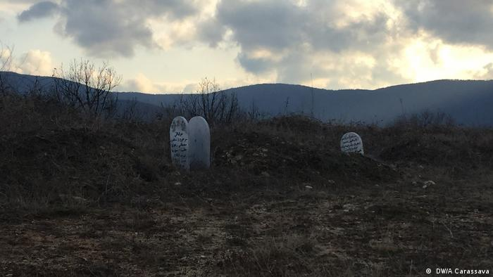 A mass grave for refugees with Muslim gravestones in the border region of Greece