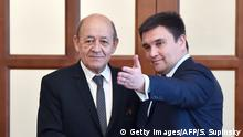 Treffens Außenminister Ukraine Pawlo Klimkin und Frankreich Jean-Yves Le Drian
