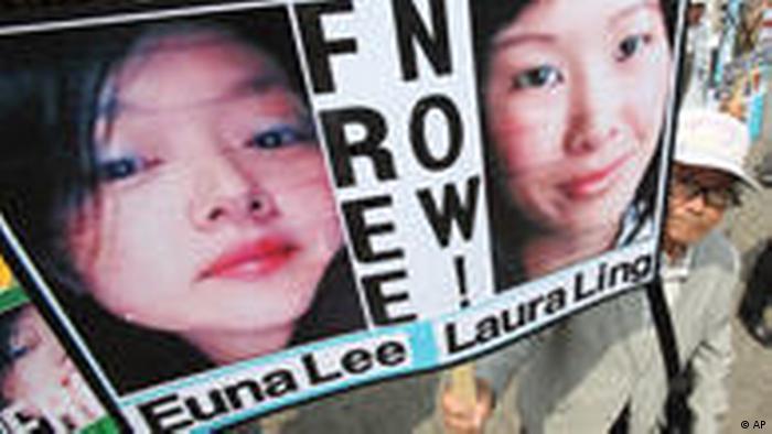 Proteste gegen die Inhaftierung amerikanischer Journalistinen (AP)