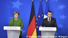 Belgien EU-Gipfel PK Merkel Macron (picture-alliance/AP Photo/V. Wijngart)