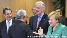 23.03.2018 +++ German Chancellor Angela Merkel, right, speaks with European Union chief Brexit negotiator Michel Barnier, center, during a round table meeting regarding Article 50 at an EU summit in Brussels on Friday, Dec. 15, 2017. European Union leaders were set Friday to authorize a new phase in Brexit talks as time runs short to clinch an agreement on future relations and trade with Britain before it leaves the bloc in March 2019. (AP Photo/Geert Vanden Wijngaert) |