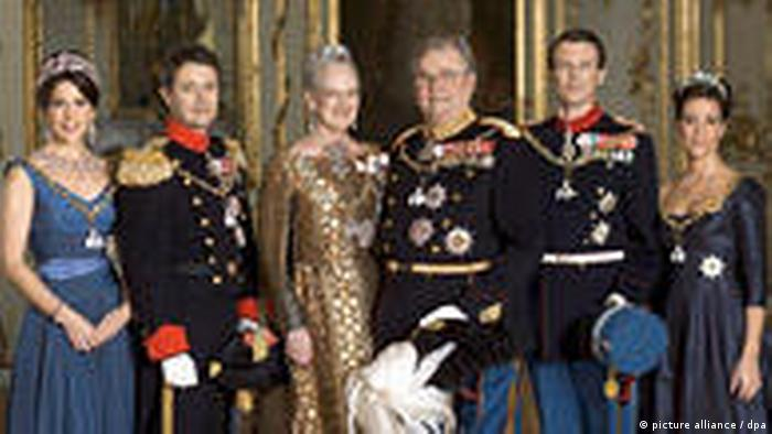 Princess Mary, Crown Prince Frederik, Queen Margrethe II, Prince Henrik, Prince Joachim, Princess Marie in Amalienburg Castle in 2009