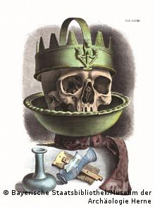 A skeleton with a crown in a bowl