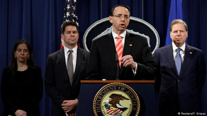 US Deputy Attorney General Rod Rosenstein speaks at a news conference with other law enforcement officials at the Justice Department to announce nine Iranians charged with conducting massive cyber theft campaign, in Washington.