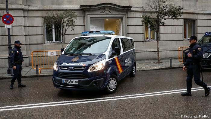 A police van believed to be carrying some of the five Catalan politicians ordered to be jailed pending their trial for rebellion leaves the Supreme Court in Madrid
