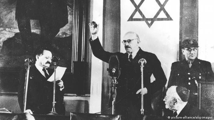 Gründung des Staates Israel 1948 Staatspräsident Weizmann Amtseid (picture-alliance/akg-images)