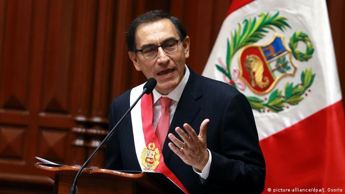 Martin Vizcarra, the former vice-president, is sworn-in as president in Lima.