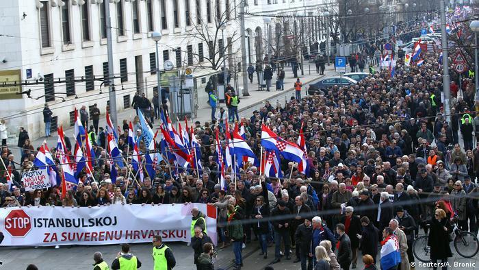 Kroatien Zagreb Demonstration gegen Unterzeichnung der Istanbul Konvention