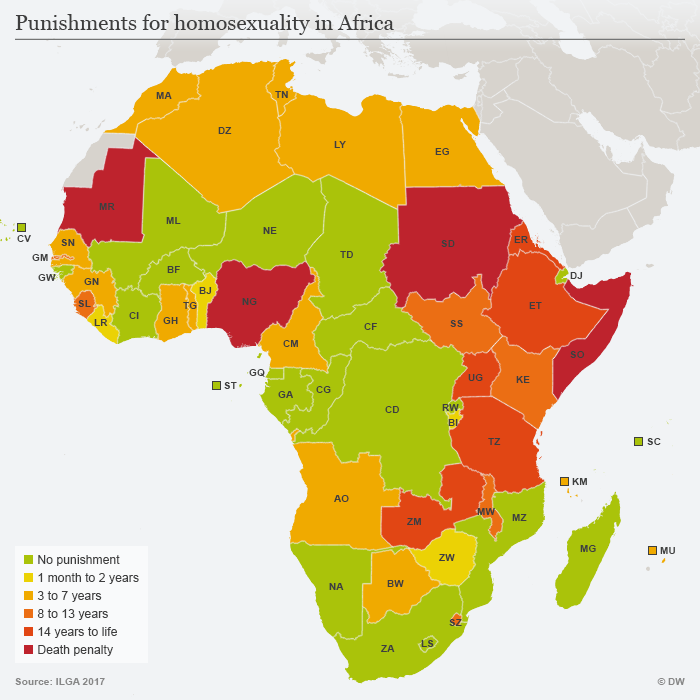 Infographic showing if and how homosexuality is punished in African countries
