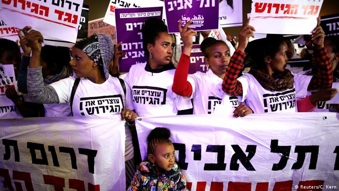 Israeli media said up to 25,000 took part in Saturday's rally, ahead of the Supreme Court ruling on the deportations