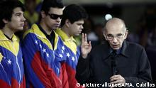 FILE - In this Feb. 16, 2012 file photo, Jose Antonio Abreu, founder of Venezuela's network of youth orchestras known as 'El Sistema' or The System, attends an event at the Teresa Carreno Theater in Caracas, Venezuela. Abreu died Saturday, March 24, 2018. He was 79. No cause has been given but the government economist turned musical educator had been known to be battling several illnesses ever since he retired from El Sistema a few years ago. (AP Photo/Ariana Cubillos, File) |