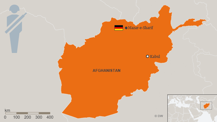 Map of Afghanistan, showing Mazar-e-Sharif, where German forces are deployed