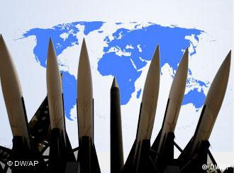 missiles against a background of a map of the world