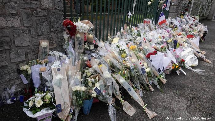 Flowers placed for policeman Arnaud Beltrame