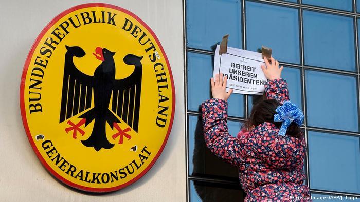 Barcelona Deutsches Konsulat Protest Puigdemont Verhaftung