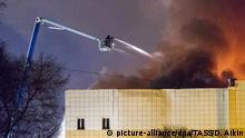 Russland Brand in einem Einkaufszentrum in der sibirischen Stadt Kemerowo