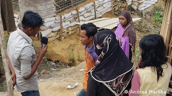 An aspiring Rohingya camp reporter during an interview.