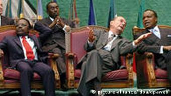 Jacques Chirac mit Omar Bongo und Denis Sassou Nguesso