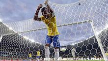 08.07.2014 FILE - In this Tuesday, July 8, 2014 file photo, Brazil's Fernandinho reacts after Germany's Toni Kroos scored his side's third goal during the World Cup semifinal soccer match between Brazil and Germany at the Mineirao Stadium in Belo Horizonte, Brazil. Deprived of the injured Neymar, host nation Brazil was routed 7-1 by Germany. Remarkably Germany was 5-0 ahead against the 5-time World Cup winners within the first half hour. A few days later, Germany defeated Argentina 1-0, with a late strike from Mario Goetze, to claim its fourth World Cup. (AP Photo/Natacha Pisarenko, File) |