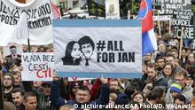 16.03.2018 FILE - In this Friday, March 16, 2018 file photo, people celebrate the resignation of Prime Minister Robert Fico and his government as a way out of the political crisis during a rally in Bratislava, Slovakia. It was report on Tuesday, March 20, 2018 that Slovakia's president Andrej Kiska has rejected a proposal for a new government amid a crisis triggered by the slayings of investigative journalist Jan Kuciak and his fiancee Martina Kusnirova. (AP Photo/Darko Vojinovic, File)  