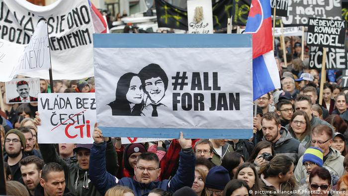 A protest in Slovakia with a banner #ALLFORJAN